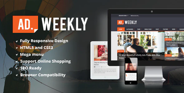 Download Free AD. Weekly WordPress Theme