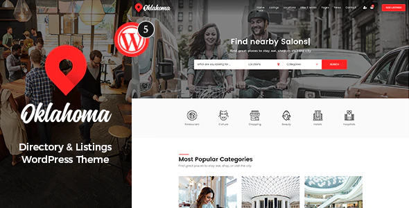 Oklahoma is a multipurpose directory and listings theme