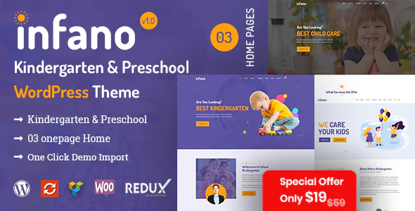 Download Free Infano – Kindergarten & Preschool WordPress Theme