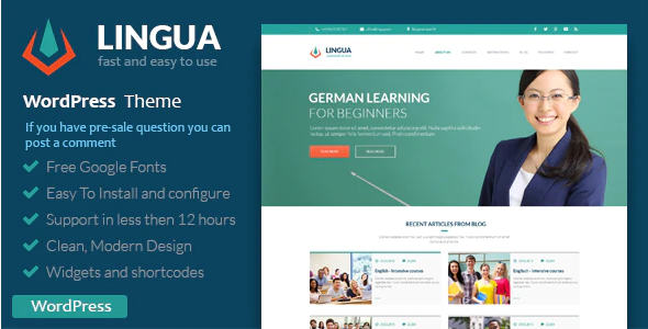 Download Free School Or Instructor – Lingua WordPress Theme