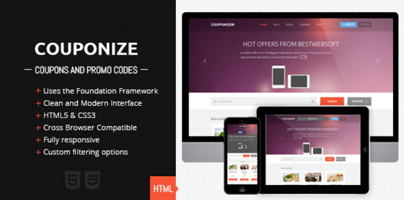Download Free Couponize – Responsive Coupons and Promo Theme