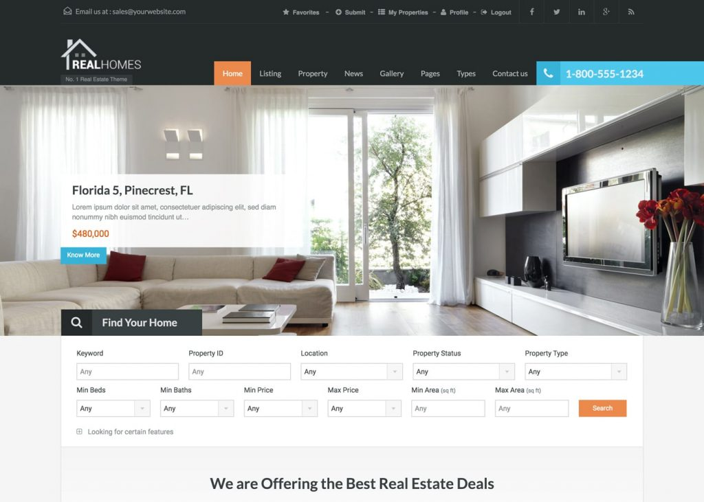 Download Free RealHomes – Estate Sale and Rental WordPress Theme