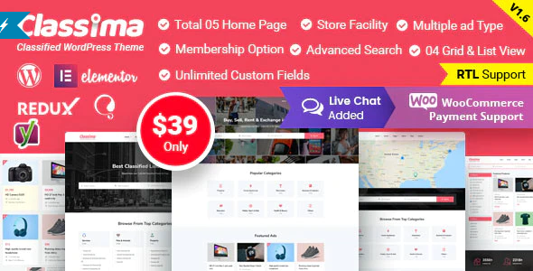 Download Free Classima – Classified Ads WordPress Theme